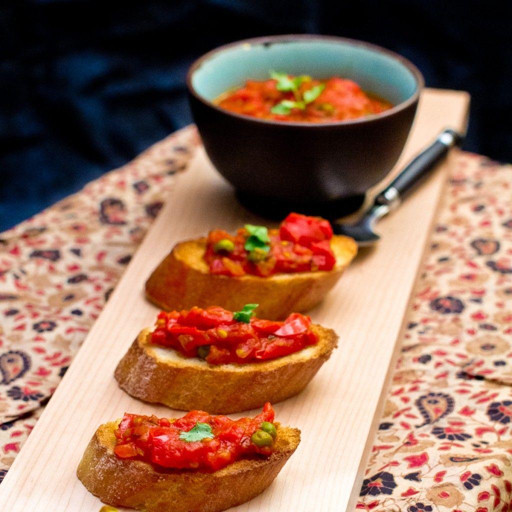 Tomato Chutney Bruschetta by Indiaphile.info