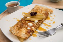 Sweet Semolina Crepes with Mascarpone and Pear Compote by Indiaphile.info