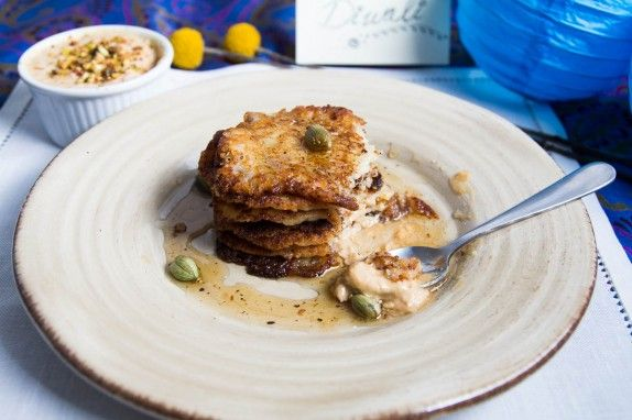Ricotta Pancakes with Condensed Milk (Malpuda with Rabri) by Indiaphile.info