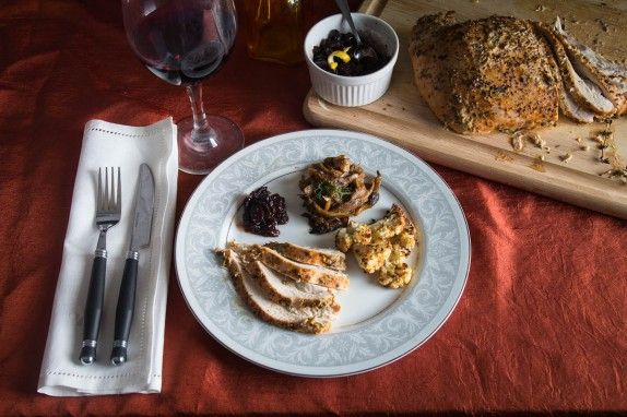 Garlic Thyme Turkey Breast with Roasted Cauliflower and Fig Cranberry Relish by Indiaphile.info