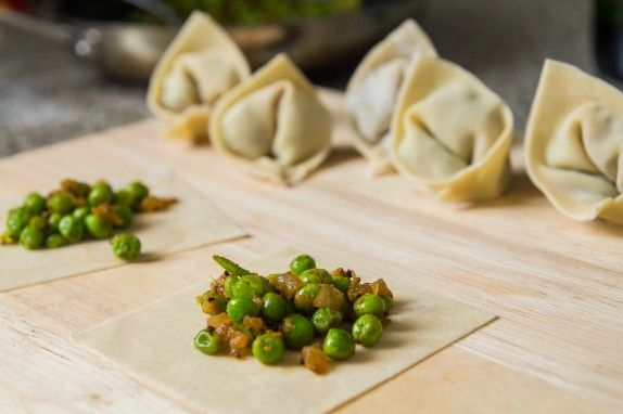 Carrot Ginger Soup with Pea Dumplings by Indiaphile.info