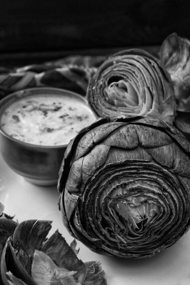 Steamed Artichokes with Curried Yogurt Dip by Indiaphile.info
