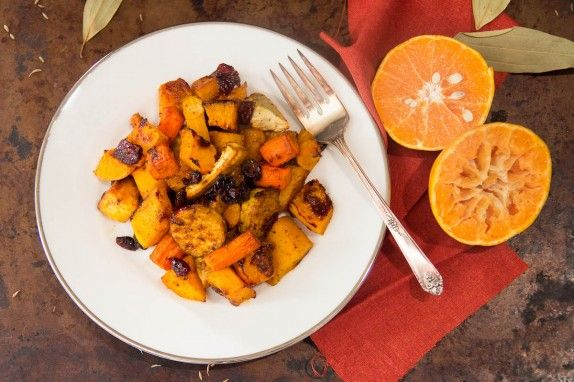 Roasted Butternut Squash and Root Vegetables with Bay, Cumin and Tangerine by Indiaphile.info