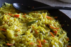 Cabbage Saute with Mustard and Asafoetida (Sambharo) by Indiaphile.info
