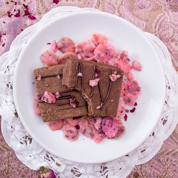 Chocolate Cardamom Shortbread Cookies with Candied Rose Petals by ...