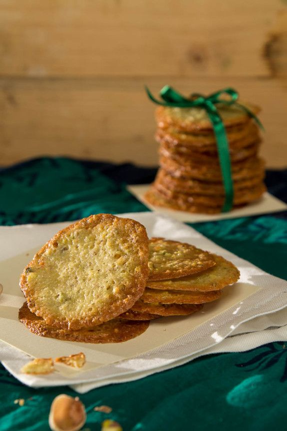 Pistachios and Saffron (Kesar Pista) Tuiles by Indiaphile.info