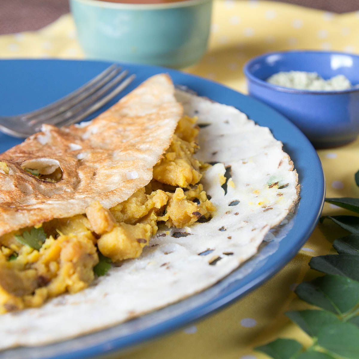 Quick Savory Semolina Crepes with Potato Curry and Coconut Chutney (Rava Masala Dosa) by Indiaphile.info