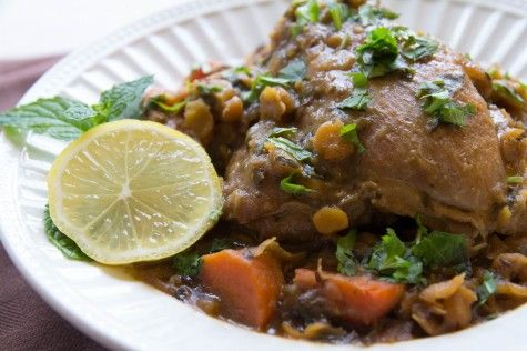 One Pot Herbed Chicken Tagine with Split Peas by Indiaphile.info