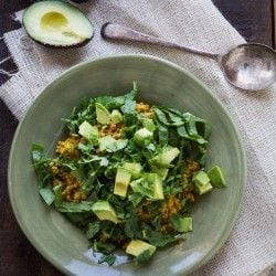 Healthy Curried Quinoa with Spinach and Avocado for Lunch by Indiaphile.info