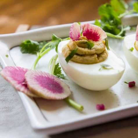 Garam Masala Deviled Eggs by Indiaphile.info