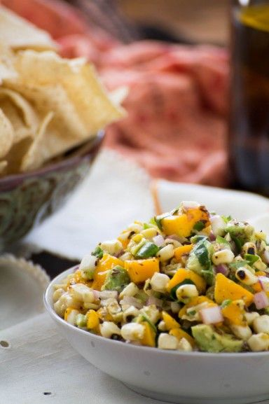 Mango Avocado Salsa with Flame Grilled Corn. Recipe by indiaphile.info