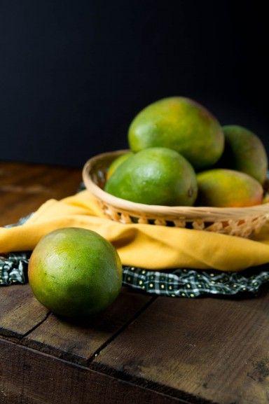 Raw mangoes under off-camera flash