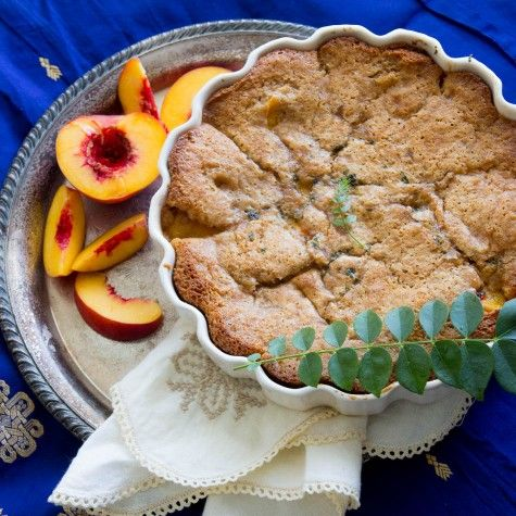 Peach and Curry Leaf Cobbler recipe by Indiaphile.info