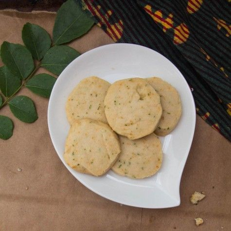 Citrus and Curry Leaf Shortbread Cookies recipe at Indiaphile.info