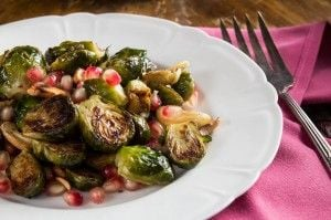 Pan Roasted Brussel Sprouts and Pomegranate Salad recipe and Indiaphile.info