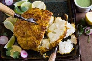 Whole roasted tandoori cauliflower recipe at Indiaphile.info