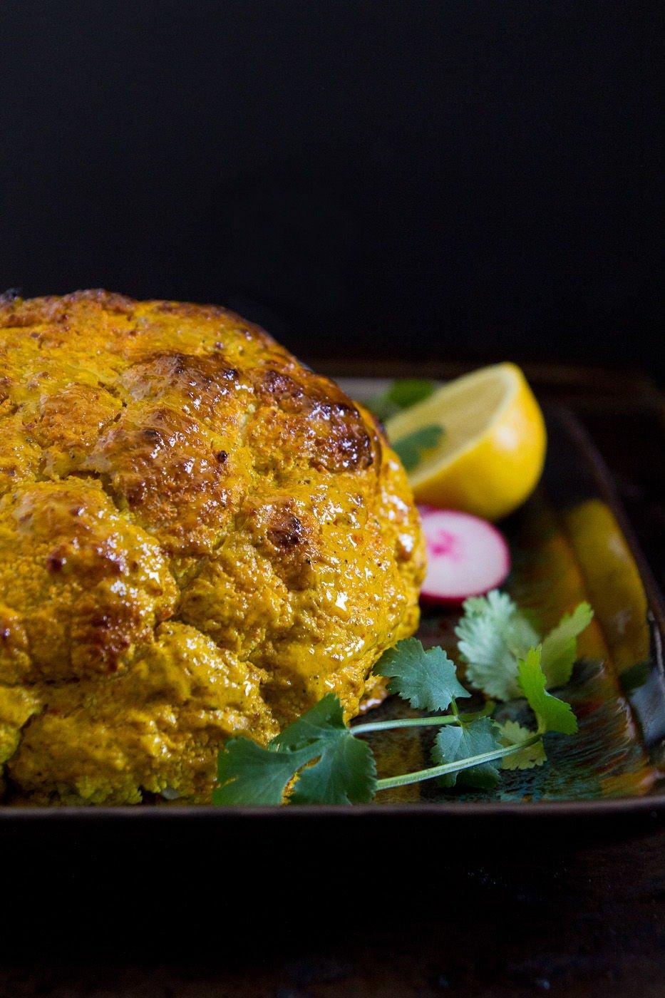 Whole Roasted Tandoori Cauliflower with Cilantro Onion Chutney ...