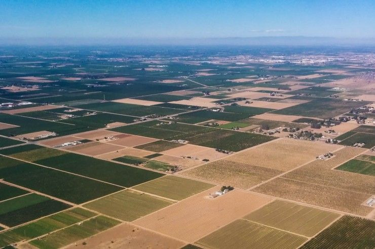 Aerial shot of farms in Fresno