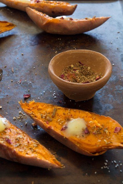 Indian spiced roasted sweet potatoes with ghee